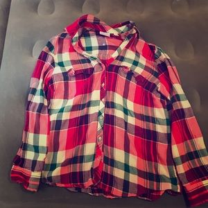 NY&Co XL Plaid Flannel Top
